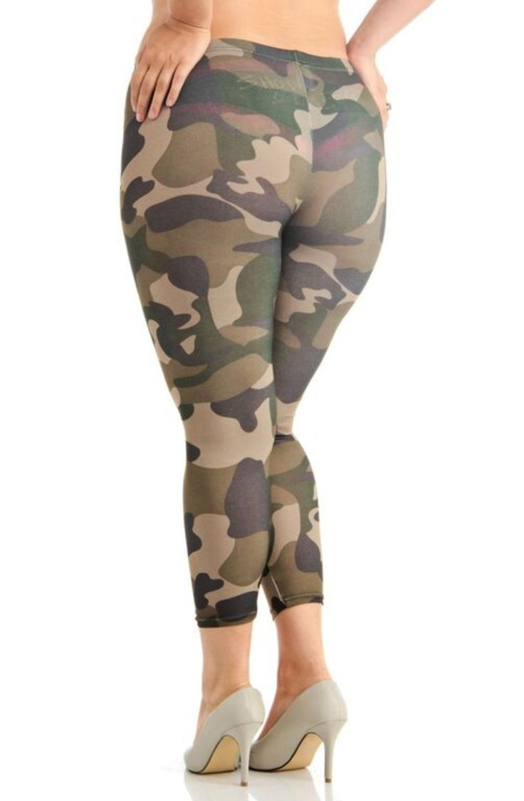Womenu0026#39;s Plus Size Green Camouflage Activewear Leggings | Activewear And Camouflage