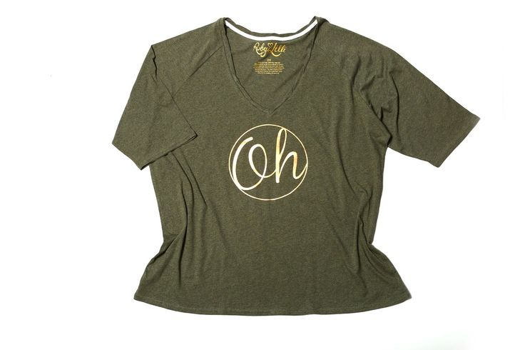 OH. What if I fall? OH, but my darling, what if you fly? – e.h.  V Neck Relaxed Fit  3/4 Raglan Sleeve  Bronze Foil Print  Heathered Khaki Vintage Wash Cotton (130GSM)  Ruby & Lilli Signature Twisted Neckline #RubyAndLilli