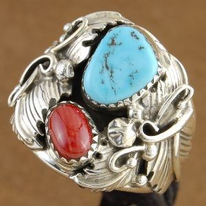 Native American Ring Turquoise Coral Large Sterling Silver Ring Mens Size 9 to 14, http://nativeamericanstuff.net/Native%20American%20Stuff-Native%20American%20Made%20Rings.htm