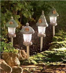 Fairy Garden Gnome Home Solar Path Lights, Set of 4 - how easy would it be to make something like this?