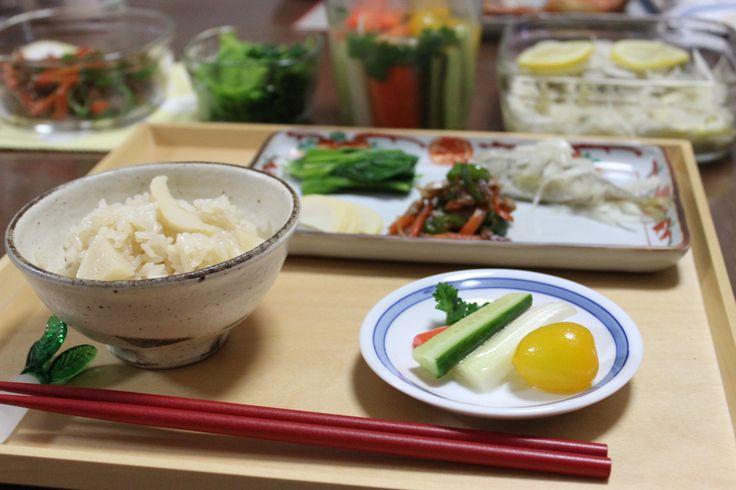 2015.04.25 夕飯 筍ご飯、常備菜いろいろ