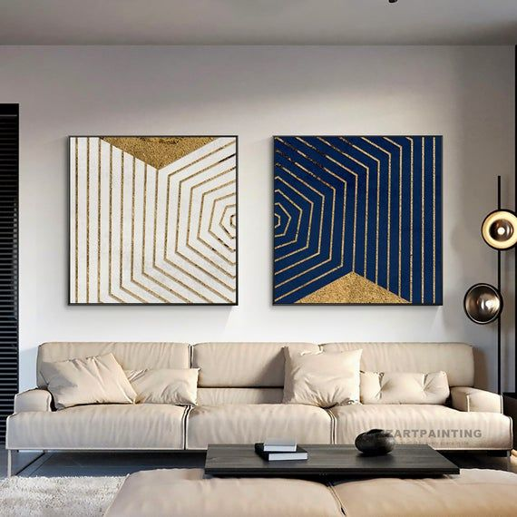 Framed Wall Art Set Of 2 Prints Geometric Abstract Gold Black Etsy In 2020 Frames On Wall Framed Wall Art Sets Wall Art Pictures