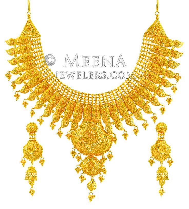 Exquisite 22K Bridal Necklace Set ( Bridal Necklace Sets )