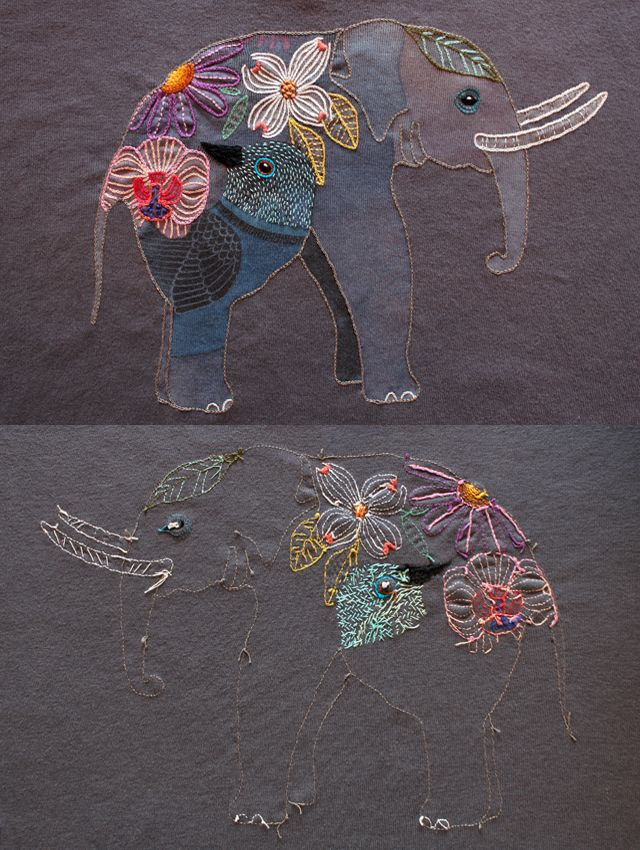 embroidered elephants
