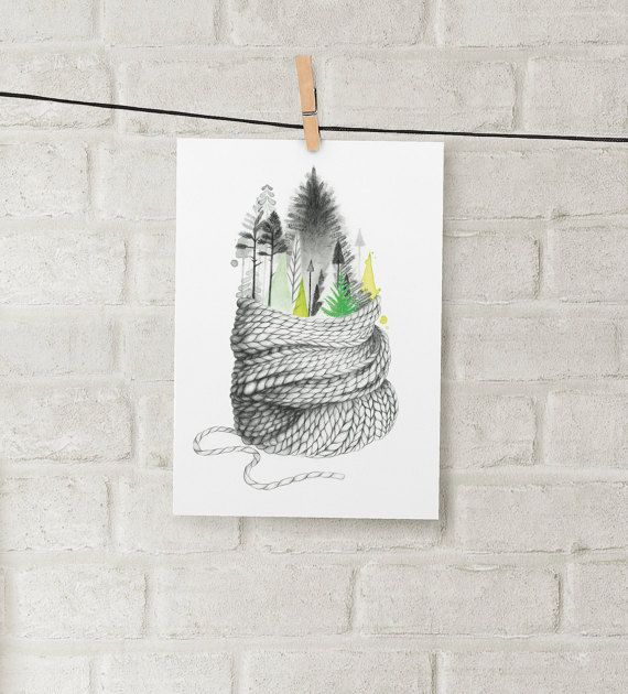 illustration hivernale 5 x 7 art Aquarelle par KatrinnIllustration