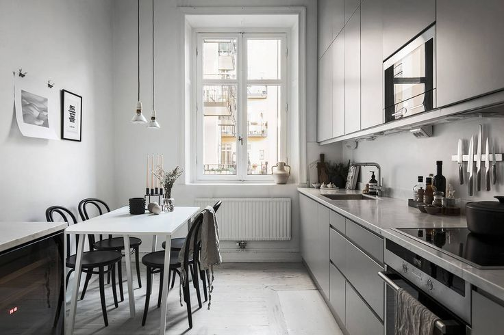 Big minimalist monochrome kitchen