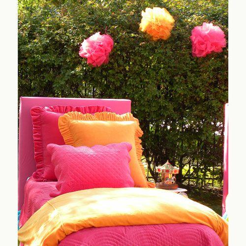 Velvet Bedding in Hot Pink and Orange