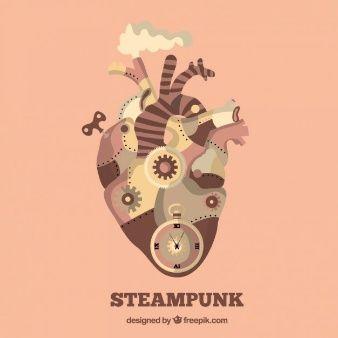 corazón mecánico en el diseño del steampunk