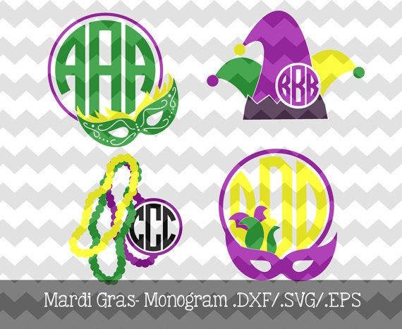 Mardi Gras Monogram Frames .DXF/.SVG/.EPS by KitaleighBoutique