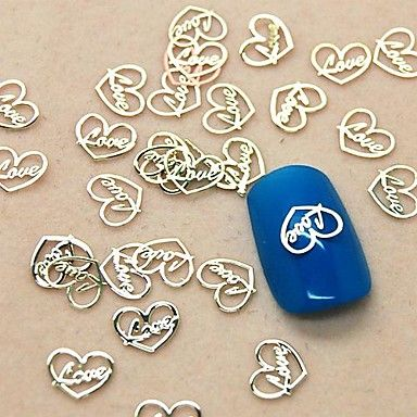 200PCS Love Heart Design Slice Metal Nail Art Decoration – USD $ 2.99