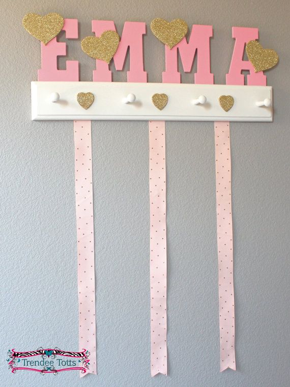 Check out this item in my Etsy shop https://www.etsy.com/listing/475101879/name-bow-holder-pink-hairbow-holder