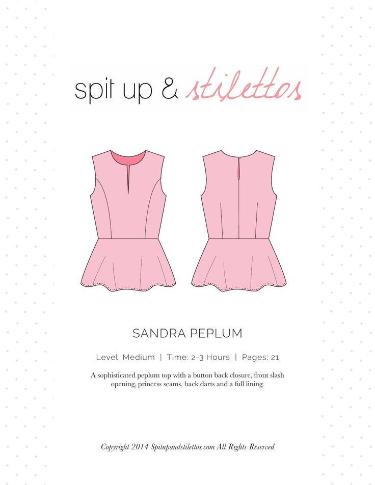 Sandra Peplum Sewing Pattern Spit Up & Stilettos  Peplum top sewing pattern. Print on letter paper.