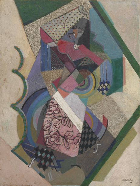 Albert Gleizes (1881-1953, French), 1916, Danseuse espagnole (Spanish Dancer), oil with sand on board. iL #Cubism