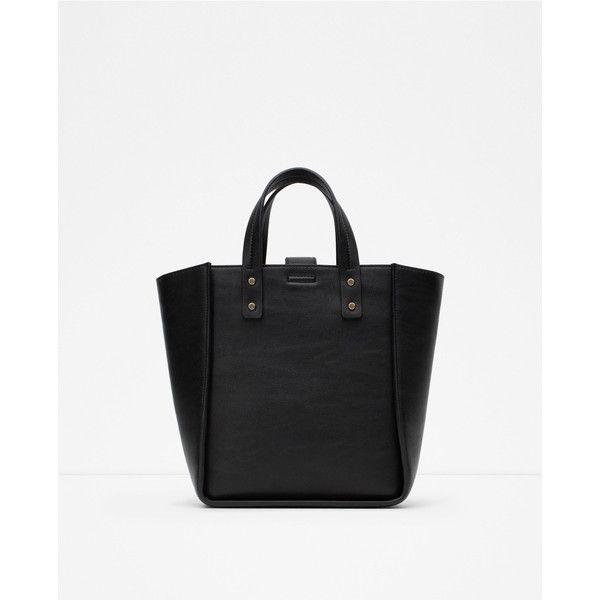 Zara Mini Shopper ($50) ❤ liked on Polyvore featuring bags, handbags, tote bags, shopping bag, white handbags, zara tote bag, zara shopper and white purse