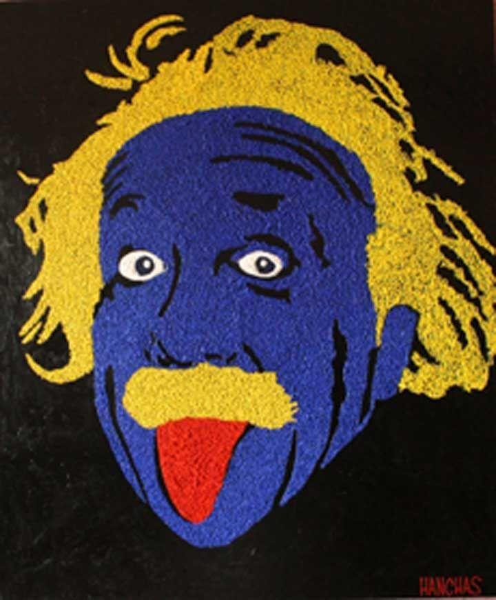 Поп арт Эйнштейн, Поп арт, Поп арт картины, Картины в стиле поп арт, Юл Ханчас, интерьер в стиле поп арт, Масло, акрилик, объемная авторская техника