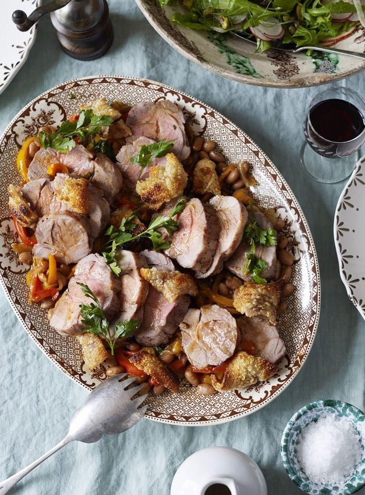 Roast Pork with Mixed Capsicums and Borlotti Beans