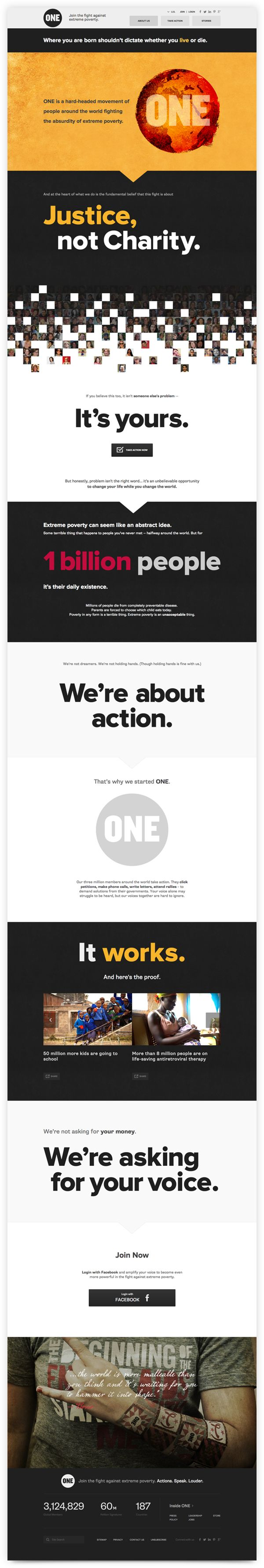 The new ONE.org redesigned with less text, and more visuals.