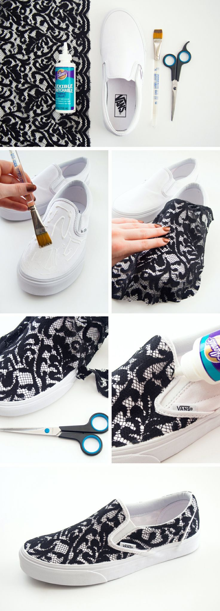 DIY Lace Slip-on Vans Sneakers. I would love these!! #Craft Add lace to your shoes.