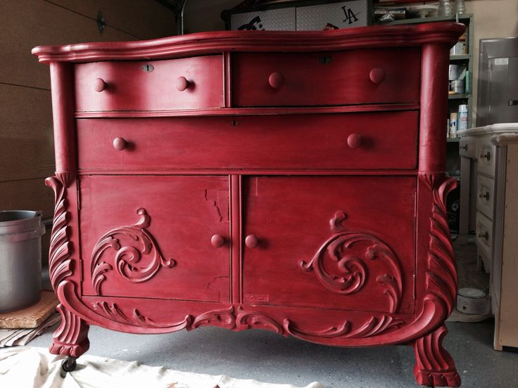 ASCP Emperor silk with clear and dark wax. Gorgeous red buffet! #repurposedfurnitureforbathroom