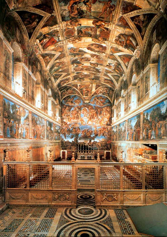 More than 300 figure paintings and about 4 years of labour-driven work. Michelangelo Buonarroti 's amazing Sistine Chapel ceiling painting is one of the many places I want to see first-hand before I die. Vatican City, Rome