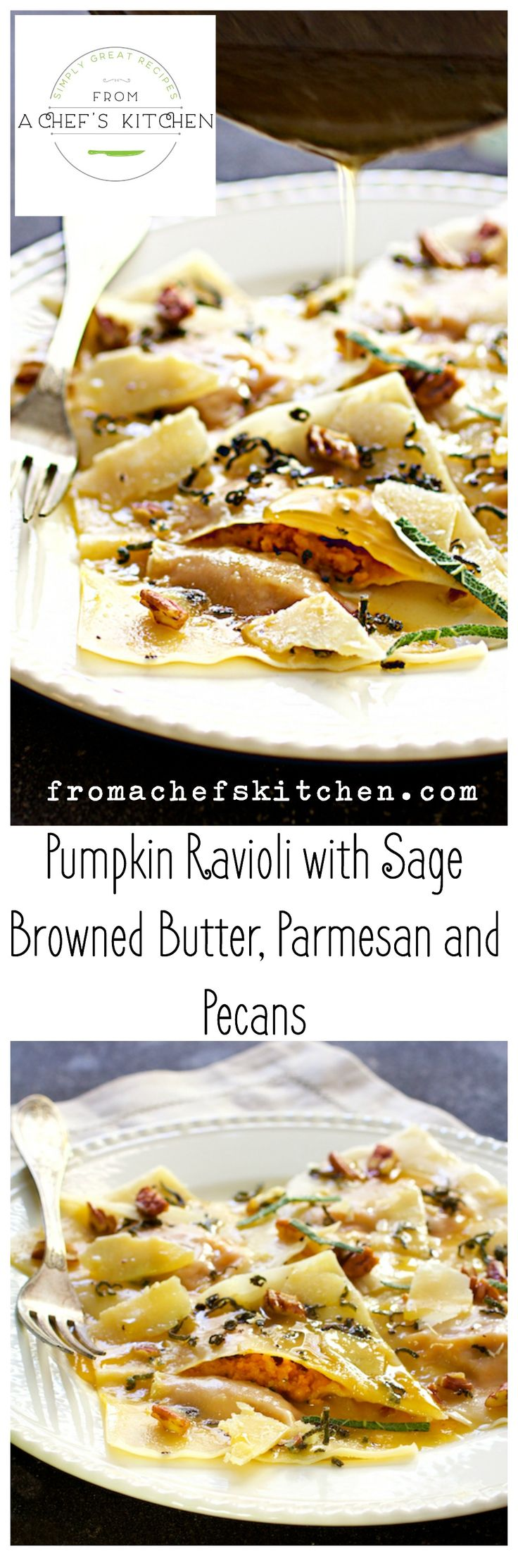 Pumpkin Ravioli with Sage Browned Butter, Parmesan and Pecans uses wonton wrappers and canned pumpkin for a lovely dinner any day of the year! via @chefcarolb