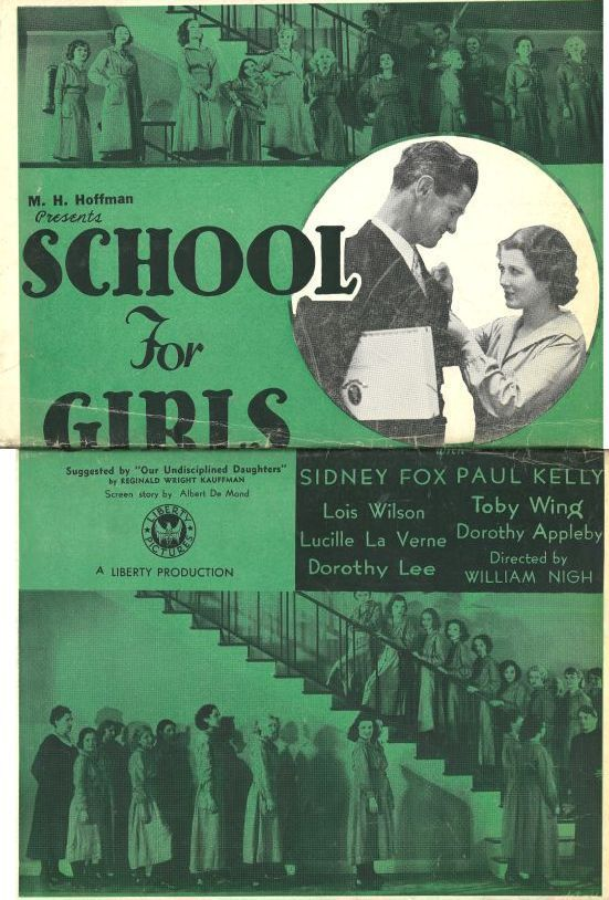 Lona Andre, Dorothy Appleby, Kathleen Burke, Sidney Fox, Paul Kelly, Lucille La Verne, Dorothy Lee, Anne Shirley, Barbara Weeks, Lois Wilson, and Toby Wing in School for Girls (1934)