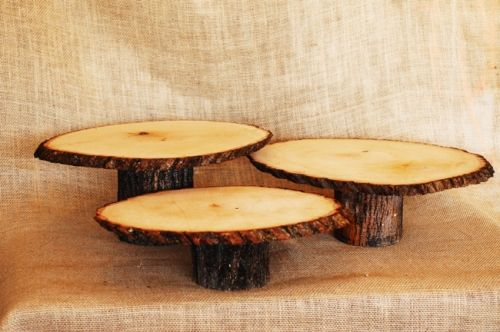 Set of 3 tree slice cake stands at varied heights
