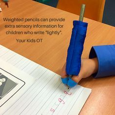 "Why your child presses ""too lightly"" when writing! Weighted pencils can provide extra sensory feedback. Your Kids OT"