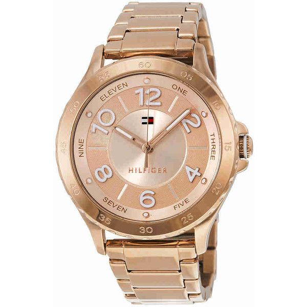 Tommy Hilfiger Rose Dial Rose Gold-tone Stainless Steel Ladies Watch (5,380 INR) ❤ liked on Polyvore featuring jewelry, watches, stainless steel jewellery, tommy hilfiger jewelry, bezel watches, stainless steel jewelry and tommy hilfiger