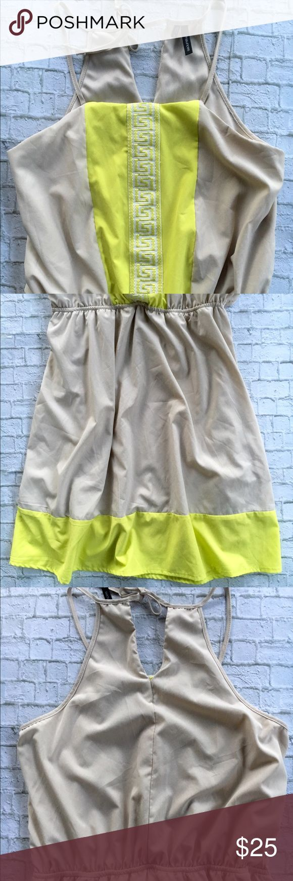 Maurice's Neon Yellow & Cream Sleeveless Dress - Sleeveless, ties at back of neck - Neon yellow details at front and hem - Elastic waistband - 88% polyester; 12% spandex Maurices Dresses Mini