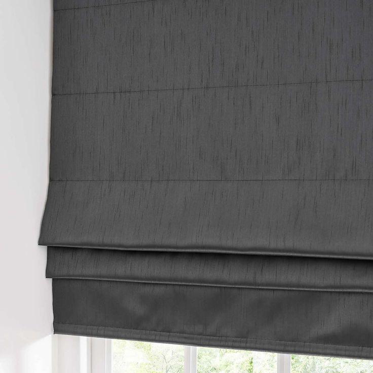 Faux Silk Charcoal Blackout Roman Blind | Dunelm