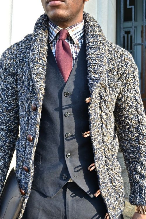 chunky knit shawl cardigan over suit