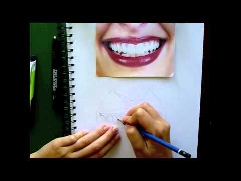 How to draw lips and teeth