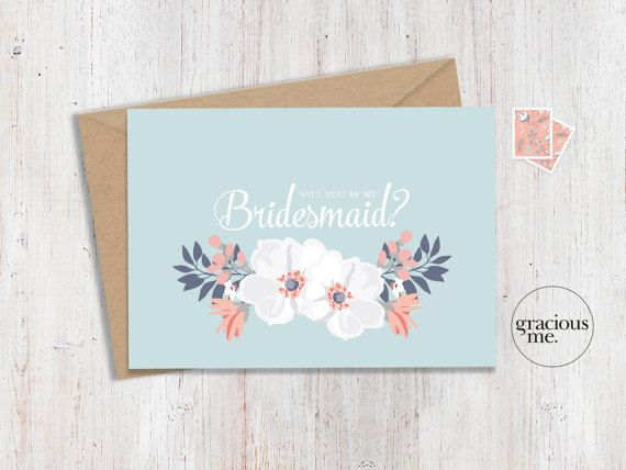 Bridesmaid Card 'Will You Be My Bridesmaid'  by GraciousMeShop