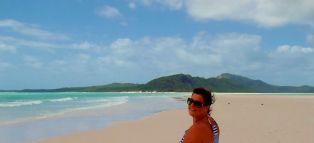 Kate on Whitehaven Beach