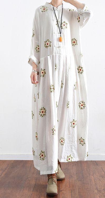 new white prints cotton maxi dress plus size casual linen dresses long sleeve gowns