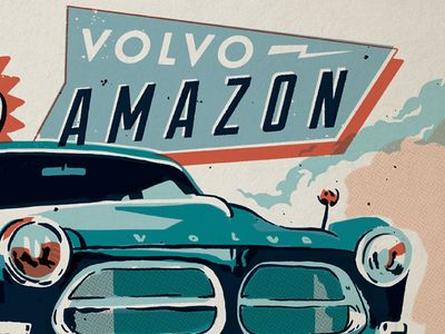 A nice vintage look to this Volvo Amazon illustration.