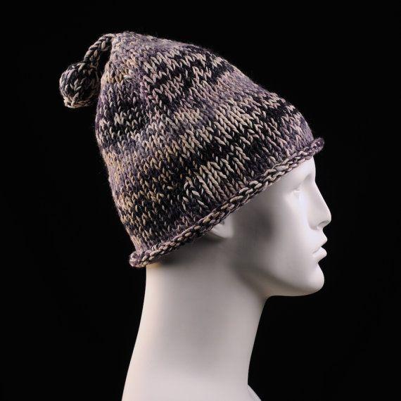 Purplish Hat with an Orb Pom Pom on Etsy