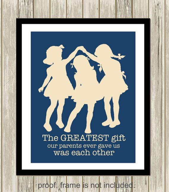 Three sisters wall art, siblings wall art, shared sisters room, girls room decor, playroom, kids room art, sisters wall art, custom colors by PicabooArtStudio
