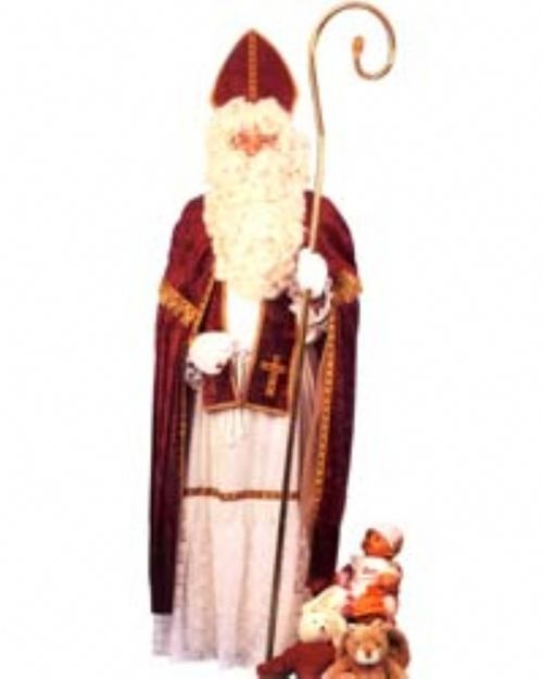 Father Christmas Dutch St. Nicholas Costume - This Dutch Santa is a great collection piece and great for the person who wants something different for St. Nicholas. Sinterklauss comes with a crushed velvet like robe with ribbon and lace detailing on the wrists and bottom of the robe. The robe ties with a white rope belt. The cape is made from matching material in a crimson red color with ribbon detailing and gold fringe around the capelet. #santa #stnicholas #dutch #mens #christmas #costume…