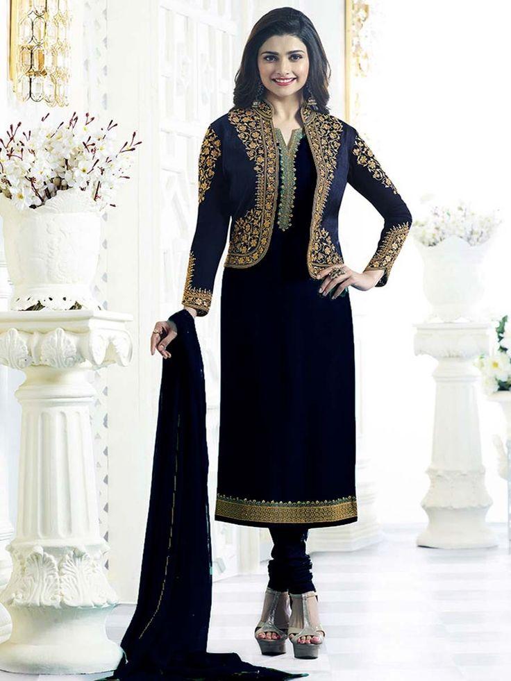 Dazzling navy blue color georgette kameez having zari, resham work.  Item Code: SLANB001 Shop more: http://www.bharatplaza.com/women/salwar-kameez.html