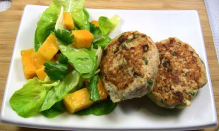 Try these gorgeous chicken and coriander rissoles served with a sweet, spicy mango salad. So fresh and easy, you''ll be asked to make this again and again.