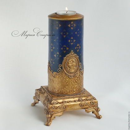 подсвечник, старинный, винтаж, маша спирина, чудесатые вещи, купить подсвечник, украшение спальни, роскошный подарок, королевский синий, ручная работа, подсвечник ручной работы, оригинальный подарок