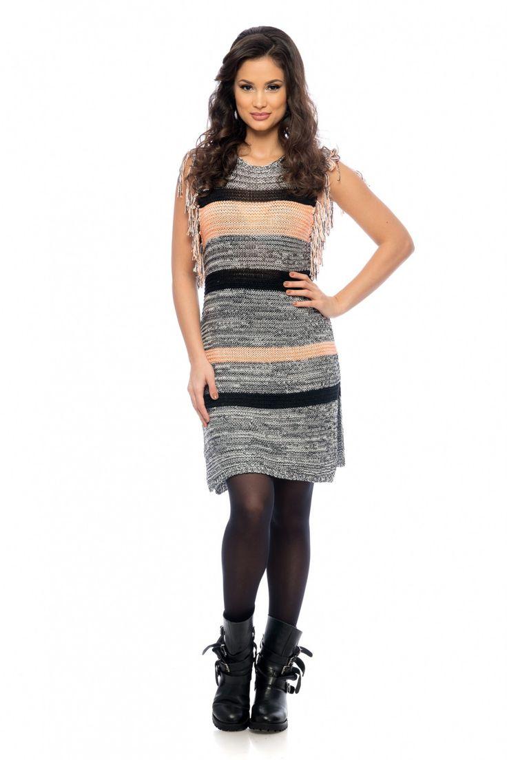 Rochie Mely Corai 129 lei Rochie casual din tricotaj