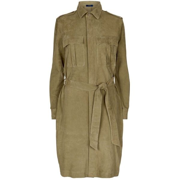 Polo Ralph Lauren Suede Shirt Dress ($1,165) ❤ liked on Polyvore featuring dresses, suede mini dress, tie waist belt, shirt dress, mini shirt dress and formal wear dresses