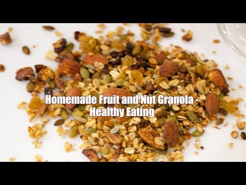 Homemade Fruit and Nut Granola Recipe - Healthy Eating - YouTube Fruit and Nut Granola is not just a healthy but also a nutritious way to start your day. Adding you family favorites is the best way to get every member in the family to eating right.   Full Recipe - http://veenaazmanov.com/homemade-fruit-nut-granola-healthy-eating/ Pin Recipe for later - https://www.pinterest.com/pin/271271577535506517/