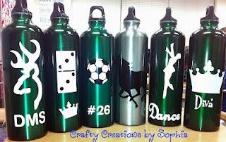 "Custom Order Aluminum Bottles    Please ""like"" our FB page.   https://www.facebook.com/SophiasCraftyCreations"