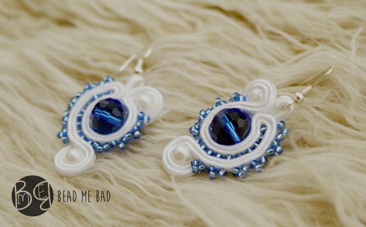 Simply, white soutache earrings :)   small, soutache, sutasz, kolczyki, małe, niebiesko białe, koraliki, beeds, na lato, marynarskie