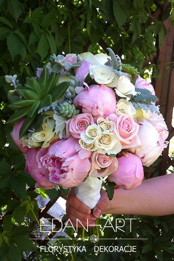 Bukiety Ślubne Edan-Art Mrągowo, Olsztyn, Warmińsko-Mazurskie, biały, róż, ślub, peonia, róża gałązkowa, sukulenty, róża, #bukiet