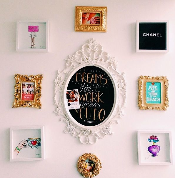 Room decor. Picture frames & DIY chalkboard.